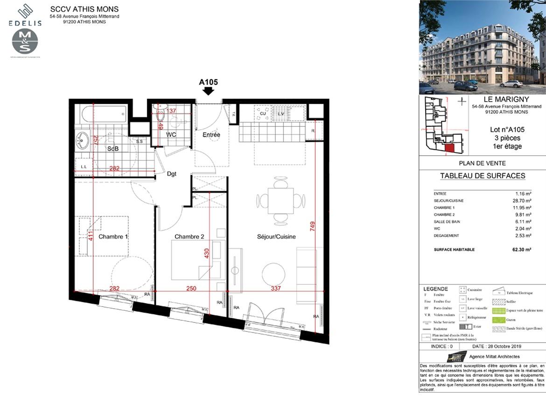 Plan Construction SMD Patrimoine T2 à Athis-Mons