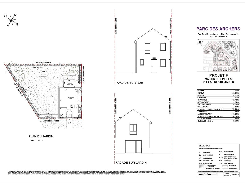 Plan Construction Le Parc des Archers SMD Patrimoine T3 à Montlhery