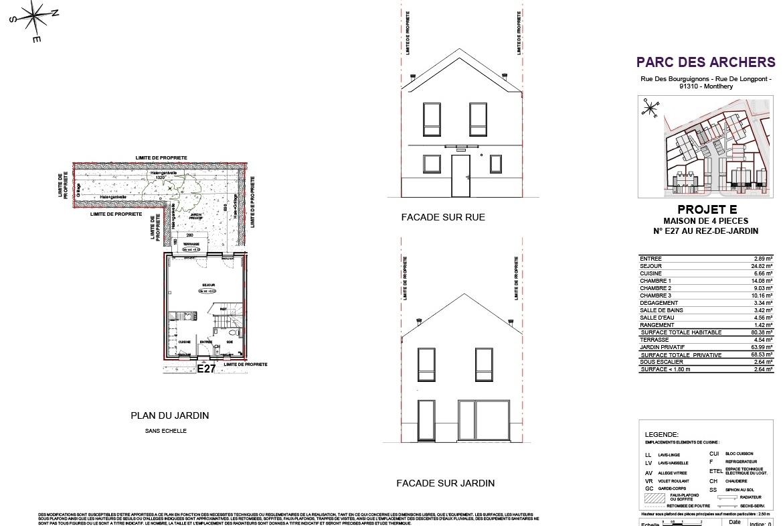 Plan Construction Le Parc des Archers SMD Patrimoine T4 à Montlhery