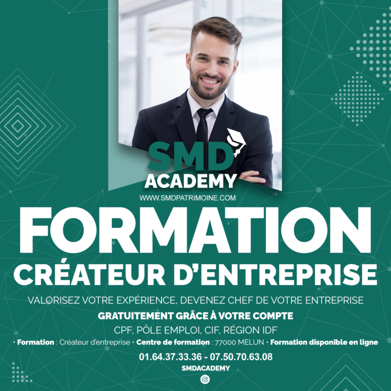 Formation création d'entreprise smd patrimoine Melun centre de formation image verte et blanche
